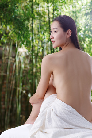 woman bathing: Young woman bathing Stock Photo