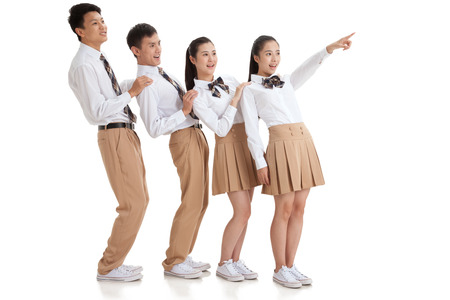 uniforme escolar: Los estudiantes de secundaria Foto de archivo