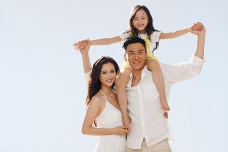 Family on beach photo