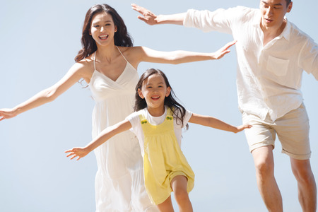 asia nature: Family on beach
