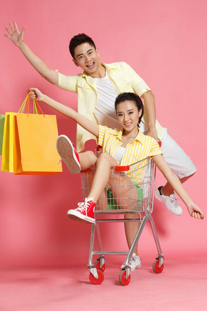 Young lovers shopping