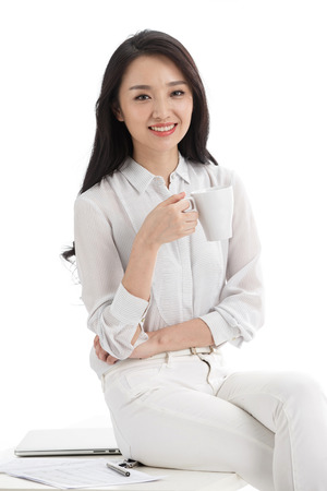 oriental ethnicity: Young business woman Stock Photo