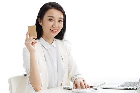 asian businesswoman: Women with a business card