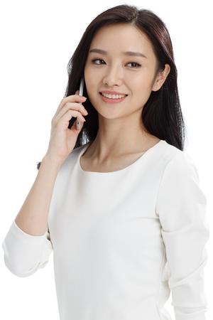 mujer bonita: llamada de la mujer de negocios