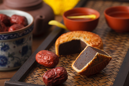 cake plate: Moon cakes and Chinese tea