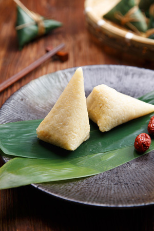 Traditional Chinese zongzi with jujube Stock Photo