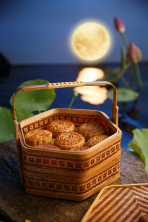 Mid autumn moon cake in box