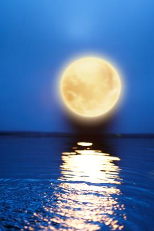 water reflection: Mid Autumn Moon Stock Photo