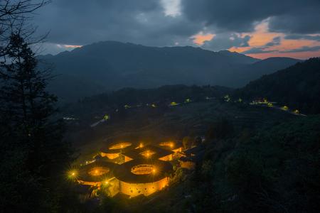 Night view of earth building in Fujian, Nanjing