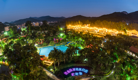 Guangdong city of Qingyuan Province, a resort at night