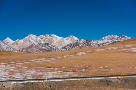 winter road: Tibet Ali Tibet line scenery