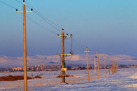Rural snow scene in Inner Mongolia, EerguNa