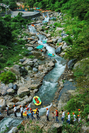 Guangdong province Qingyuan mysterious scenic spot rafting Stock Photo