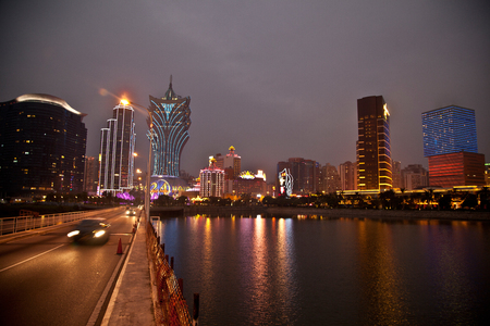 Night view of Macao urban architecture