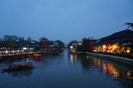 human settlement: Night view of Nanjing, Jiangsu, the Qinhuai River Stock Photo