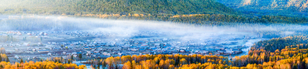 xinjiang: North the Xinjiang Uygur Autonomous Region Hemu village scenery Banque d'images