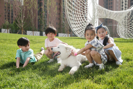 Happy children play on the grass