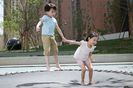Children play outdoors Stock Photo