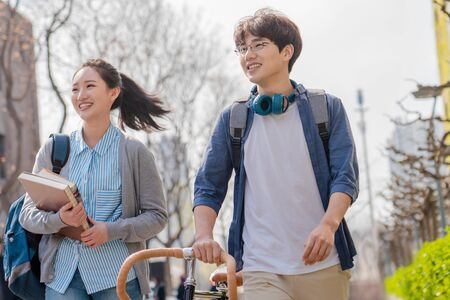 College students walking together at campus