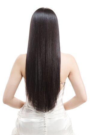 The young woman beautiful silky hair Stockfoto