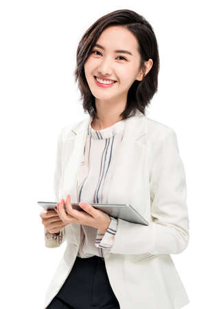 Using the tablet young female white-collar workers