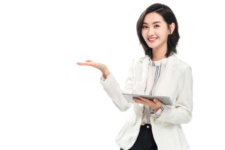 Take a tablet of young female white-collar workers