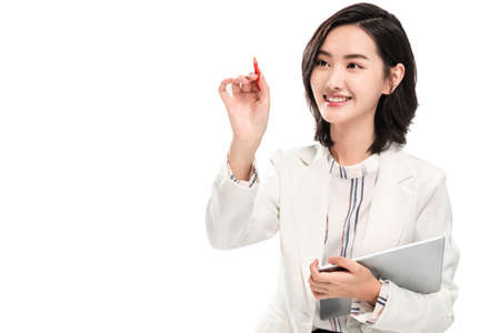 young female white-collar workers using the tablet