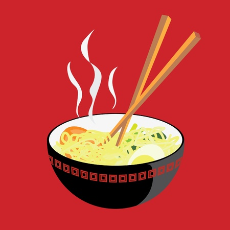 chinese noodles: A vector illustration of a bowl of hot noodle, with some tomato slices, an egg, and some mustard  Illustration