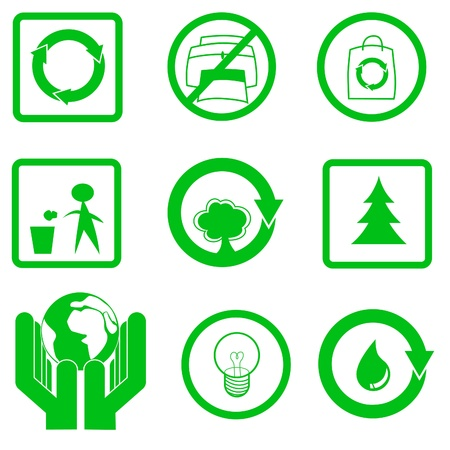 garbage bag: 9 icons represent go green activities : Recycle, No Excessive Printing, Use Recycle-able Bag, Do Not Litter, Reforestation, Save Our Earth, Reduce Electricity Usage, Keep Our Water Source