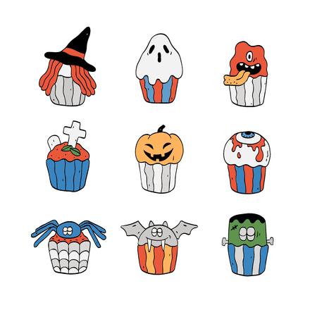 Vector illustration of cute Halloween cupcakes set.