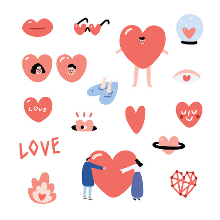 Set of Valentines hand drawn vector illustration with a lip, heart eyes, heart-shaped sunglasses, heart in a glass ball, heart from a hole, jump into heart water, man, girl, people hug heart, font, connect dot, costume, heart smiley, fire, heart planet. Heart character set.