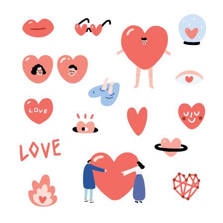 Satz Valentinsgrüße übergeben gezogene Vektorillustration mit einer Lippe, Herzaugen, herzförmige Sonnenbrille, Herz in einer Glaskugel, Herz von einem Loch, springen in Herzwasser, Mann, Mädchen, Leute umarmen Herz, Schriftart, schließen Punkt, Kostüm an, Herzsmiley, Feuer, Herzplanet. Herz-Zeichensatz.