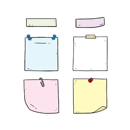 Hand drawn illustration of notes set, Color sheets of note paper with pin,clip,sticky tape. Vectores