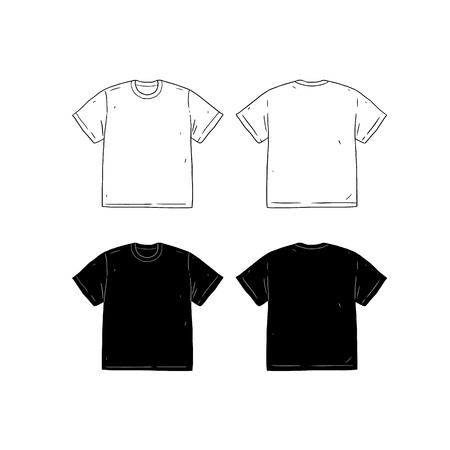 Set of blank t shirt design template hand drawn vector illustration set of blank t shirt design template hand drawn vector illustration front and back maxwellsz