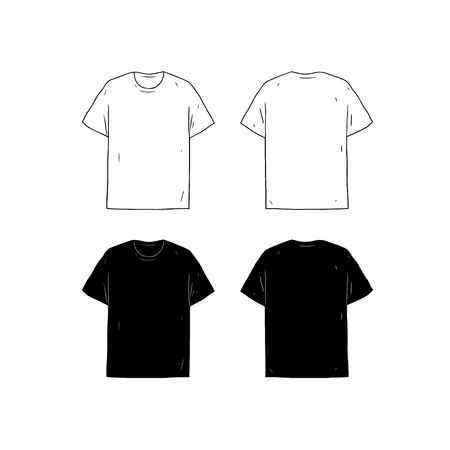 Shirt Design Template | Set Of Blank T Shirt Design Template Hand Drawn Vector Illustration
