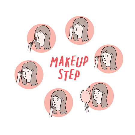 Hand drawn illustration of step to make up application.