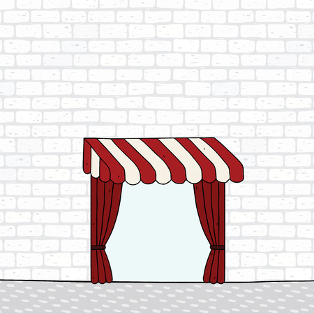 Hand drawn vector illustration of pattern white brick wall with awning. Red draped curtain.