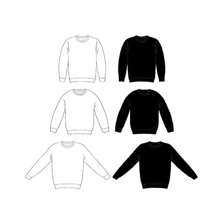 Hand drawn vector illustration of blank t-shirt long sleeve set on white background. White and black Knit jumper sweater shirt template. Mock up.Pullover.