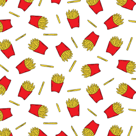 Hand drawn vector illustration of french fried potatoes in paper box pattern on white background.Abstract wallpaper. Ilustração