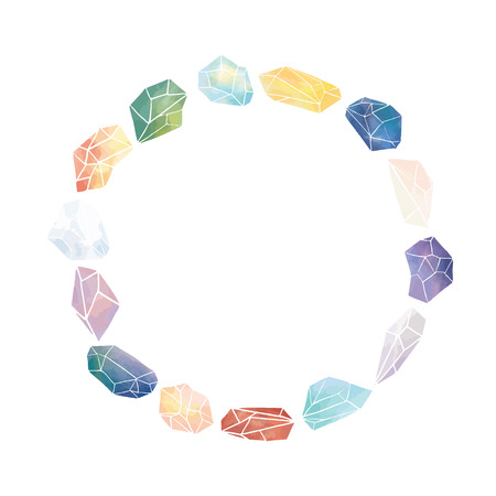 Vector illustration of watercolor crystal with blank space for text on white background.Crystal round border frame for lettering.A circle frame. Çizim
