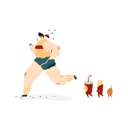 Hand drawn vector illustration of fast food characters walk follow fat people running. Soda drink,french fries paper box and fried chicken in cartoon style.