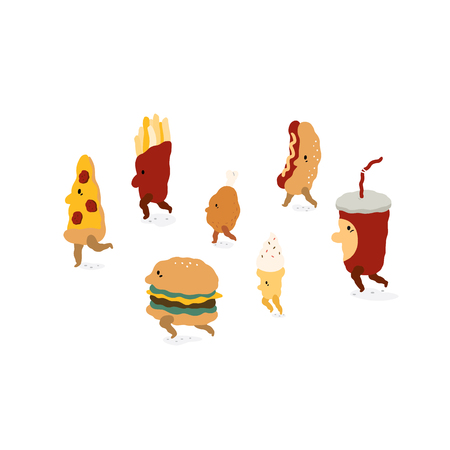 Fast food characters walk in cartoon style.