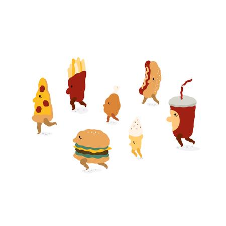 Fast food characters walk in cartoon style.