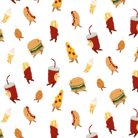 Vector patroon met fast-food tekens in cartoon-stijl. Stock Illustratie