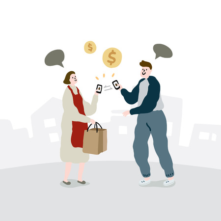 Hand drawn vector illustration of people using digital wallets for shopping. Mobile electronic money transfers.