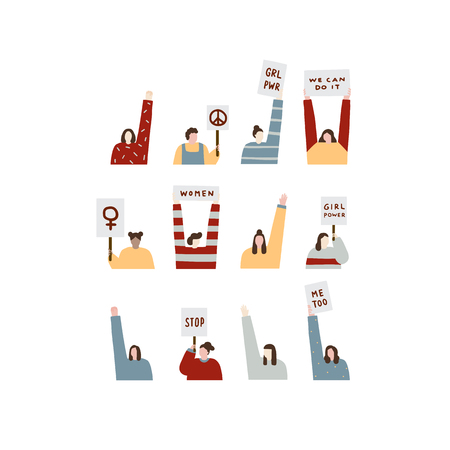 Hand drawn vector illustration of women holding protest signs. Crowd of people portrait.