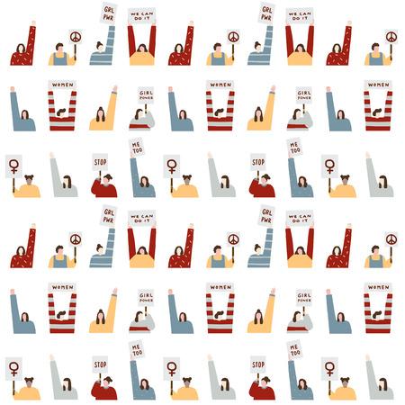 Hand getrokken vectorillustratie van vrouwen die het patroon van protesttekens houden. Menigte van mensen portret. Vector Illustratie