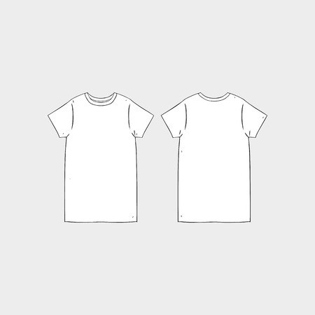 Hand drawn vector illustration of blank women's short sleeve t-shirt dress design template.Front and back shirt sides.