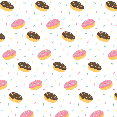 Hand drawn vector illustration of donut chocolate frosting and pink icing with colorful sweaty sprinkles pattern.