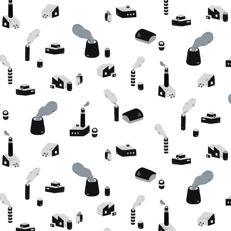 Hand drawn vector illustration of industrial factory buildings with smoke pattern, abstract doodle wallpaper. Stock Illustratie